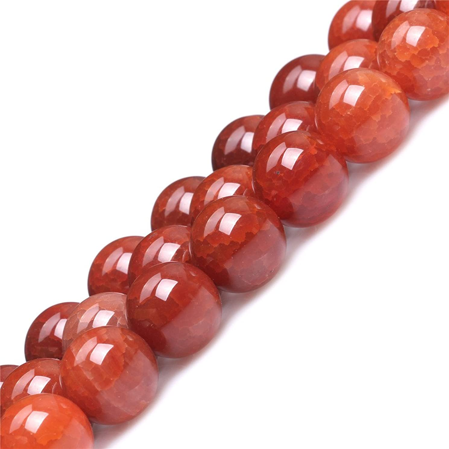 Red Crackle Agate Beads for Jewelry Making Natural Semi Precious Gemstone 14mm Round Strand 15