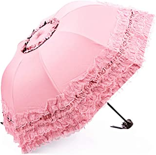 3- foldCompact Sun&Rain Travel Umbrella Lightweight Portable Outdoor Golf Umbrella with 95% UV Protection (Pink)