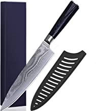 Chef Knife 8 Inches German High Carbon Stainless Steel Ultra Sharp Professional Kitchen Knife with Ergonomic Handle and Sheath Cover Best Choice for Home Kitchen and Restaurant (8 inch)