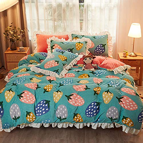 ZZFF Duvet Cover Floral Flannel Bedding Set,Elegant Vintage Flower Printed Plush Comforter Cover,Soft Reversible Breathable Lace Ruffled Quilt Cover single bed