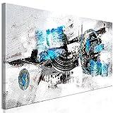 murando Cuadro en Lienzo Abstracto 135x45 cm Impresión de 1 Pieza Material Tejido no Tejido Impresión Artística Imagen Gráfica Decoracion de Pared – Gris Azul Bianco Negro como Pintado a-A-0686-b-a