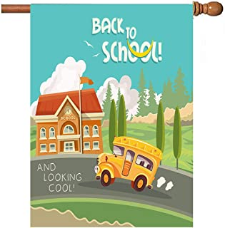 Wamika Back to School Bus Autumn Garden Yard Flag Banner House Home Decor 28 x 40 inch, Schoolhouse Small Mini Decorative Double Sided Welcome Flags for Holiday Wedding Party Outdoor Outside