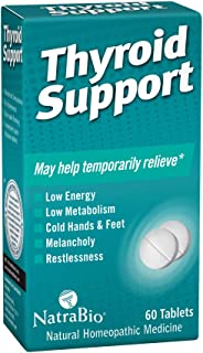 NatraBio Thyroid Support Homeopathic Tablets | May Temporarily Help Relieve Low Energy & Metabolism, Melancholy & Restless...