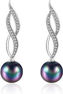 Rakumi 黑色珍珠吊坠耳环 10mm 圆形黑色贝壳珍珠吊坠耳环