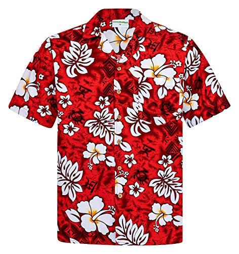 Hawaiihemdshop Hawaiiaans Overhemd | Heren Hemd | Katoen | Grootte S – 8XL | Rood | Korte mouw | Klassiek Hibiscus Bloemen | Hawaii Shirt | Kokos knopen