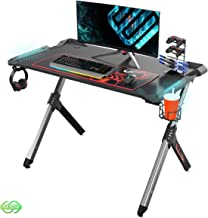 Eureka Ergonomic R1-S Gaming Desk - Gaming Computer Desk, Gaming Table PC Gamers Desk with RGB Lights, Carbon Fiber Textur...