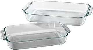 Pyrex Basics Clear Oblong Glass Baking Dishes - 2 Piece Value-plus Pack Set - 1 Each: 2 Quart, 3 Quart
