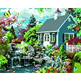 Paint by Numbers Kits DIY Acrylic Painting Kit Gartenhaus with Brushes and Pigment Arts Craft Canvas Painting for Kids & Adults, 16 x 20 inch(Without Frame)