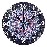 LZXO - Reloj de Pared étnico Indio con diseño de Mandala y Flores, silencioso, 24 cm, silencioso, Funciona con Pilas, Decorativo, para Cocina, Sala de Estar, Dormitorio, Oficina