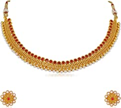 Apara Copper Ball Chain Ruby Pearl Gold Plated Traditional Earring Necklace Set for Women
