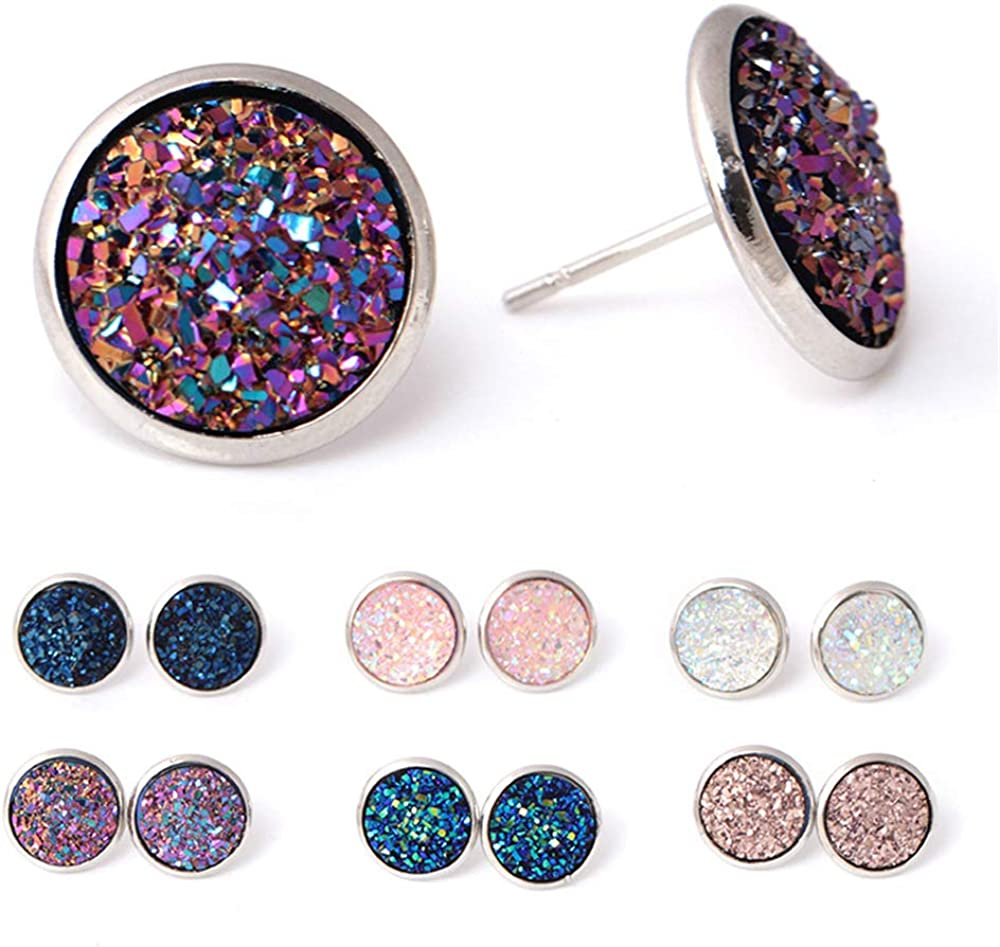 SMALLLOVE 6 Pairs Sequin Stud Earrings Set for Women Stainless Steel Druzy Geometry Shiny Round Rose Gold Hypoallergenic Pierced Earrings