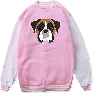 VJJ AIDEAR Boxer Dog Portrait Baseball Uniform Jacket Sport Coat Girl Long Sleeve Hoodie Sweatshirt Black
