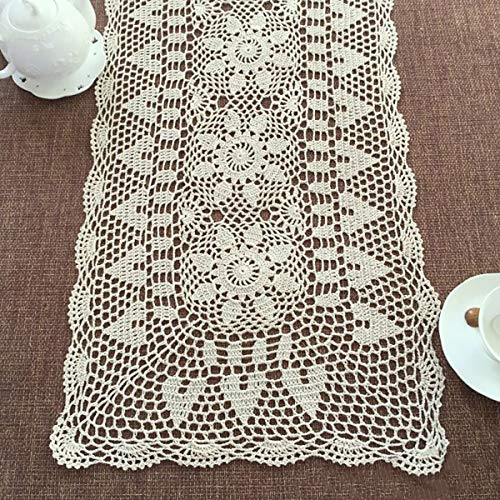 Janef Beige Handmade Crochet Doilies Cotton Table Runner Lace Doilies Doily Rectangle Dresser Scarves for bedrooms,16 by 24 Inches.