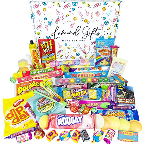 Retro Sweets Gift Box Selection Hamper | 60+ Sweet Treats & Chocolate | 80s 90s Candy Chew Bars, Dip Dab, Curly Wurly And More By Lamond Gifts. Best Sweet Gift | Birthday | Christmas | For Him & Her |