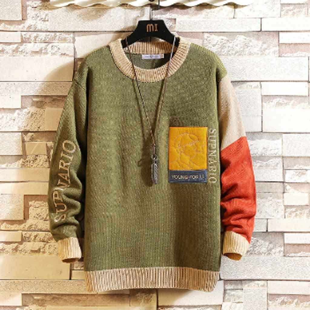 ZYING New Sweaters Men's Black Patchwork Long Sleeves Autumn Winter Pullover KnittedNeck Plus Oversize (Color : XL Code)