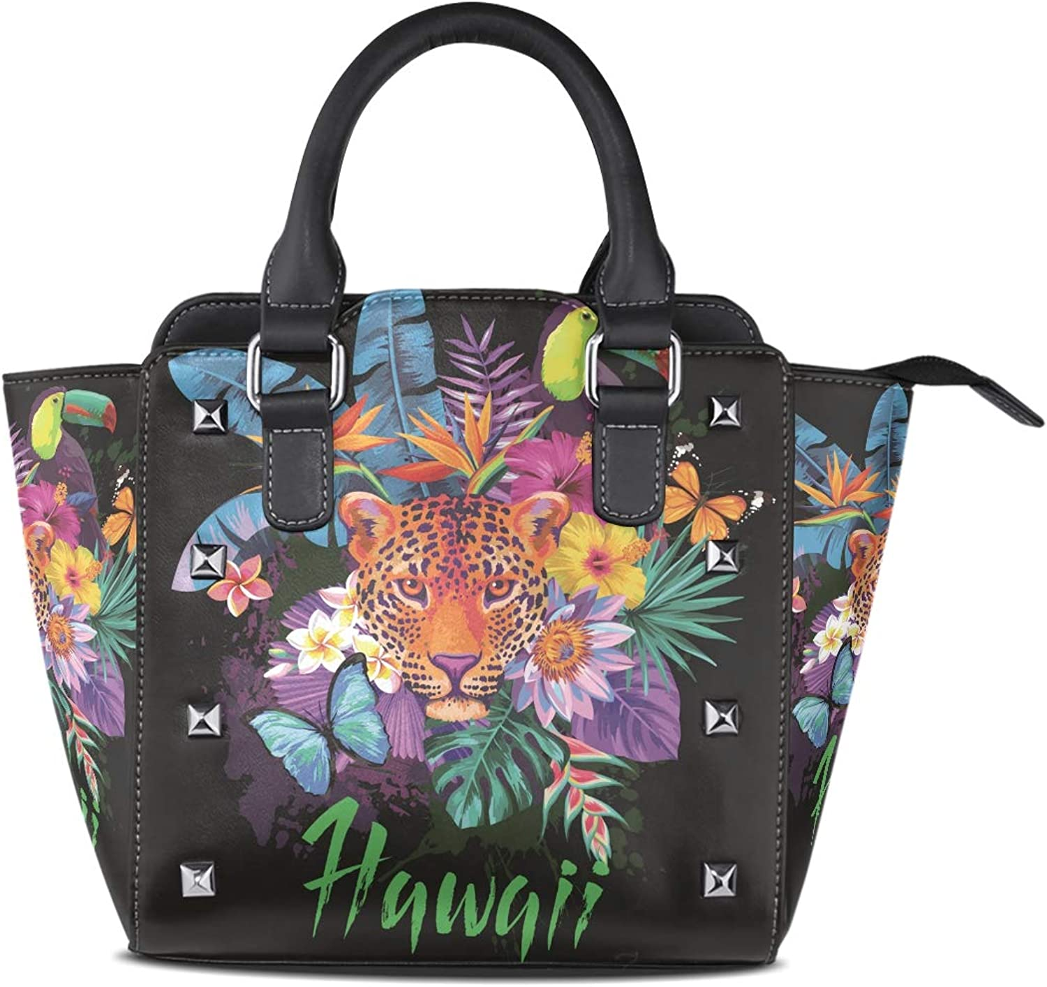 Women's Handbags Tropical Tiger Animals Floral Flowers Tote