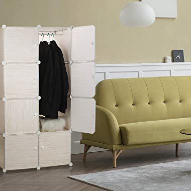 Awekris Closet Clothes Organizers Portable Wardrobe(28x18x56 inches) DIY Cabinet Wardrobe Cube Shelf for Bedroom Storage