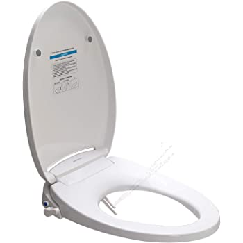 Belman Bidet Elongated Toilet Seat Cover With Self Clean Dual Wash Nozzles Non Electric Bidet Attachment Adjustable Water Pressure Spray Washlet Amazon Com