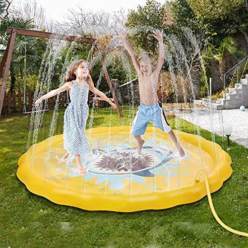 FORMIZON Splash Pad, 170 cm Almohadilla de Aspersión, Jardín de Verano Juguete Acuático para Familiares Playa Jardín Party Juegos Aire Libre para Niños y Mascotas (tiburón)