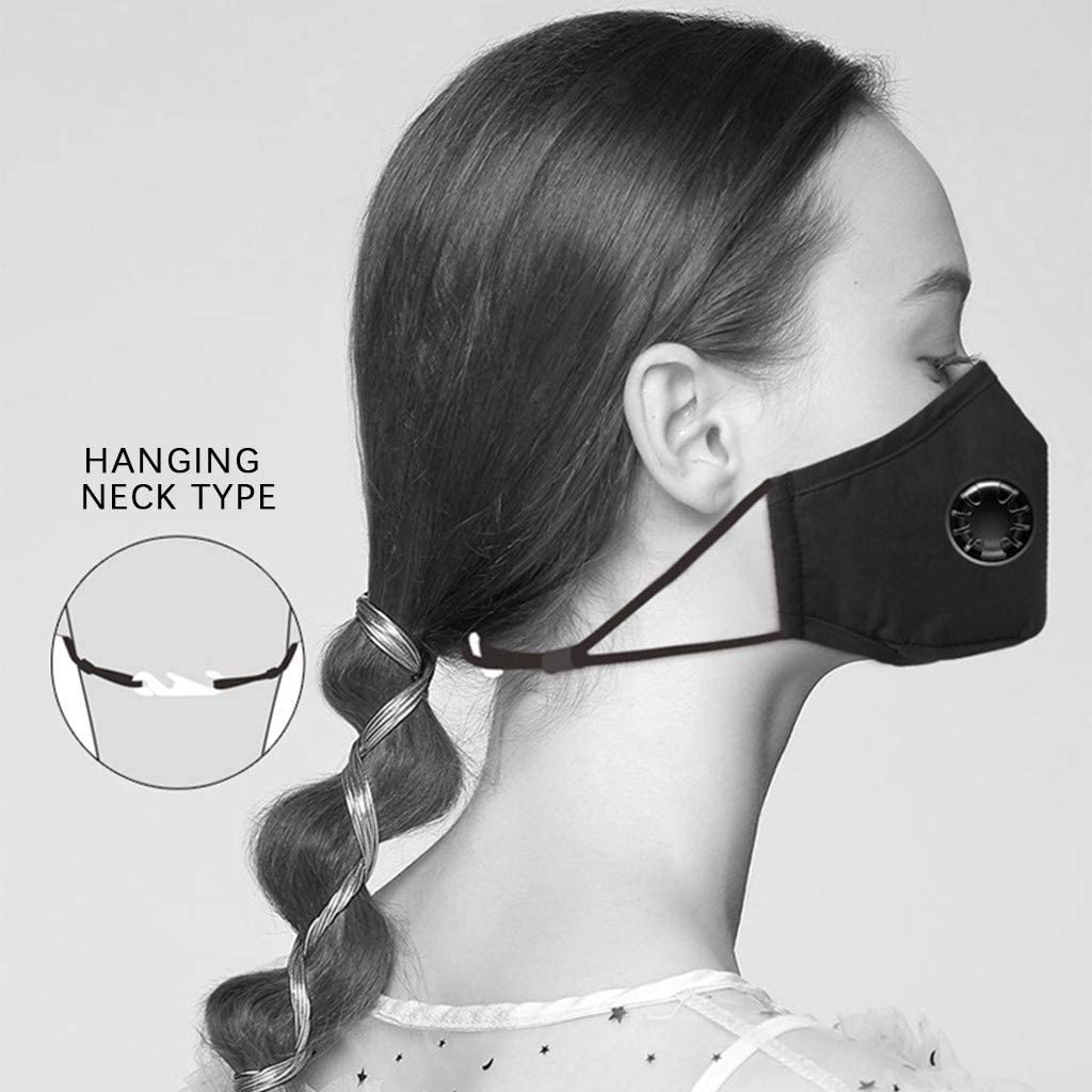 LULU99 2PCS Reusable Face Bandanas with Valve and Replaceable Insert Pads,Breathable Cotton Face with Elastic Strap Earloops Washable Mouth Face Protections for Adult Men Women Red+Black