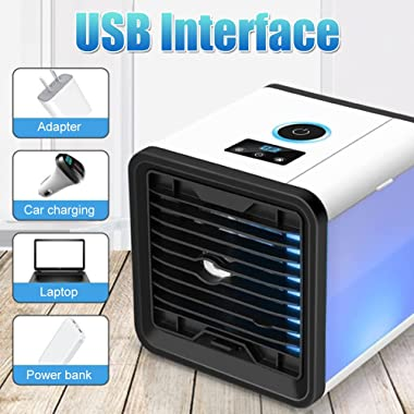 Micrael Home Portable Air Conditioner Smart Display 3-in-1 Air Conditioner Fan Quiet USB Air Cooler Fan with LED Night Light