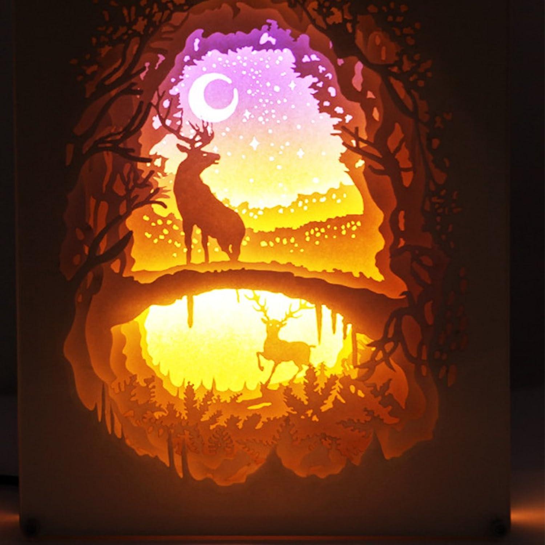 YBZAR Christmas Elch Papercut Leuchtksten Fernbedienung Nacht Projektor, USB-Papier Carving Tischlampe,Moose02