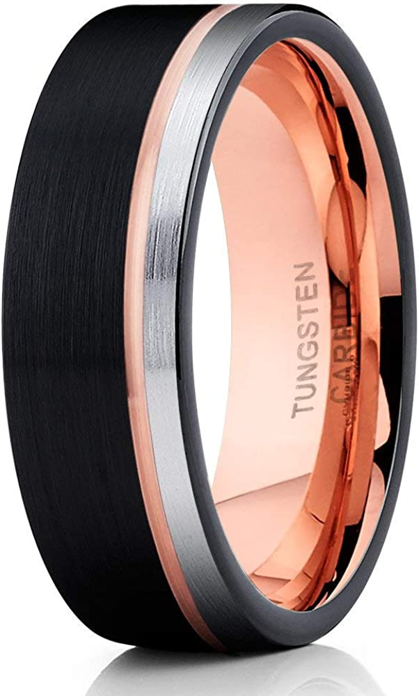 Rose Gold Tungsten Wedding Band,Black Tungsten Ring,18k Rose Gold,Tungsten Carbide Ring,Anniversary Ring,Engagement Ring,Offset Groove,18k Rose Gold,Comfort Fit