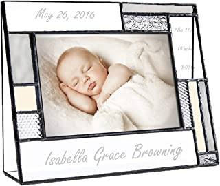 Personalized Baby Picture Frame Grey and Yellow Engraved Glass 4x6 Horizontal Photo Nursery Decor Newborn Gift for Girl or boy J Devlin Pic 392-46H EP530