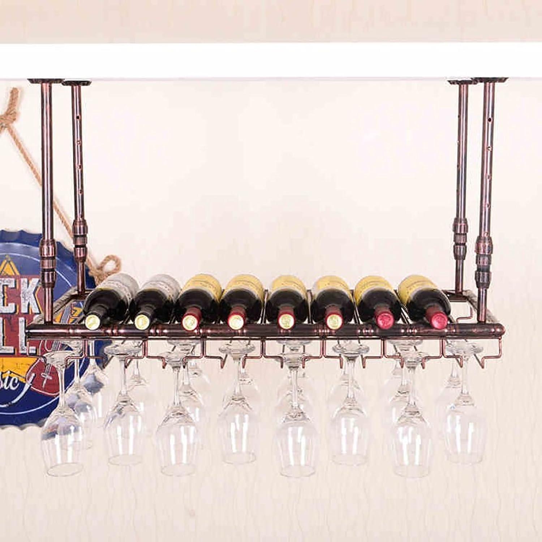 MoDi Botelleros cuelga Vino Estante de Cristal,Colgante sostenedor de Taza, Colgante stemware Rack Techo botelleros de Vino (Color   Bronce, Tamaño   80  35cm)