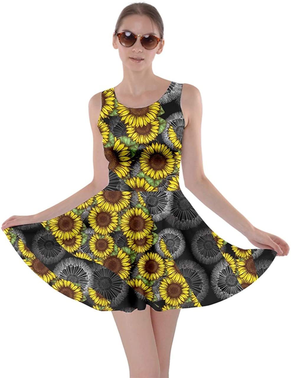 CowCow Womens Flower Floral Vintage Patchwork Summer Casual Party Skater Dress,XS-5XL