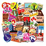Travel Stickers Decals World Famous Tourism Country Decals Pack Waterproof Tourist Wonders Sticker 100pcs