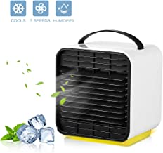 Portable Air Conditioner Cooler Fan, Personal Space Air Cooler, Humidifier, Purifier 3 in 1 Evaporative Cooler, Oneisall USB Rechargeable Mini Cooling Desktop Fan with LED Light, 3 Speeds (White)