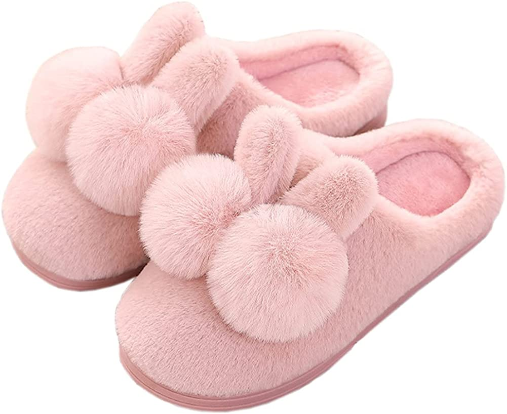 Women's Winter Cozy Anti-Slip Sole Cute Rabbit Slippers Couple Style Faux Rabbit Fur Fuzzy House Shoes Indoor Outdoor