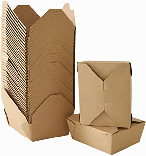 Take Out Boxes Chinese Take Out Containers 40 Pack Microwaveble Folding Natural Kraft Food Box Meal Prep Containers for Food Take Out Boxes Ideal Leak and Grease Resistant for Restaurants (Brown, 45 Oz)