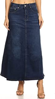 Women's Juniors Mid Rise A-Line Long Jeans Maxi Denim Skirt