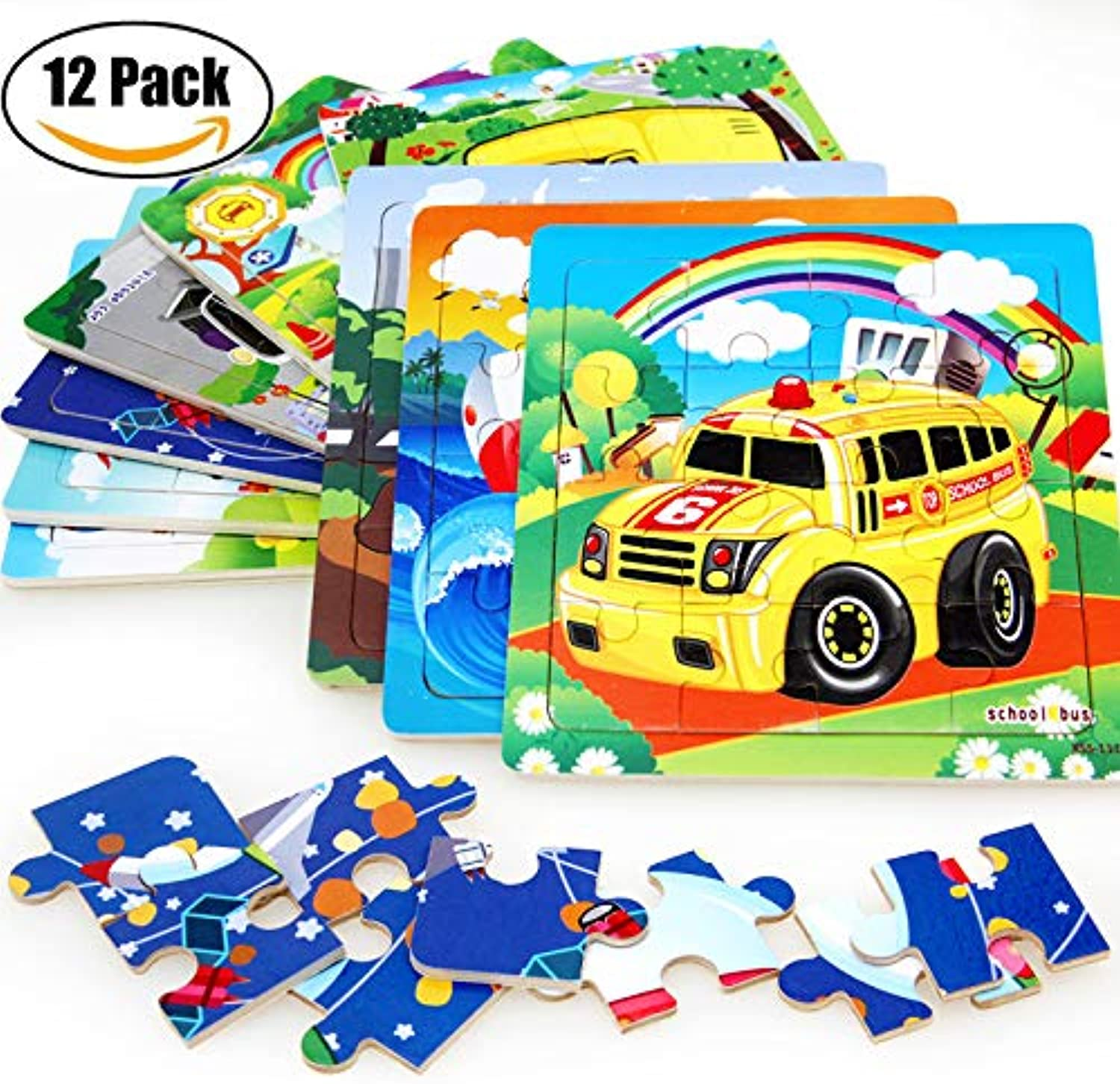 16 Pieces Jigsaw Puzzles for Toddlers, Kid Wooden Jigsaw Puzzle Toys Vegetable Fruit Vehicle, Ideal Birthday, 12 Pack (Vehicle)
