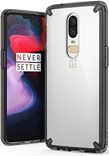 Ringke Fusion Compatible with OnePlus 6 Case Crystal Clear PC Back Case Enhanced Corner Defense Lightweight Upgraded Transparent TPU Bumper Drop Protective Cover - Smoke Black