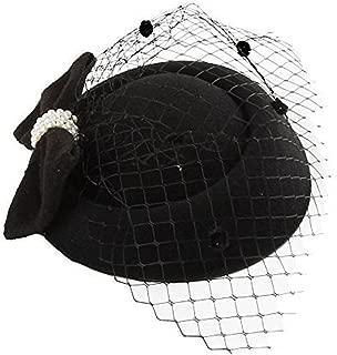 Pillbox Hat, Fascinator Hats for Women Bowknot Veil Hair Clip Wedding Tea Party Headwear