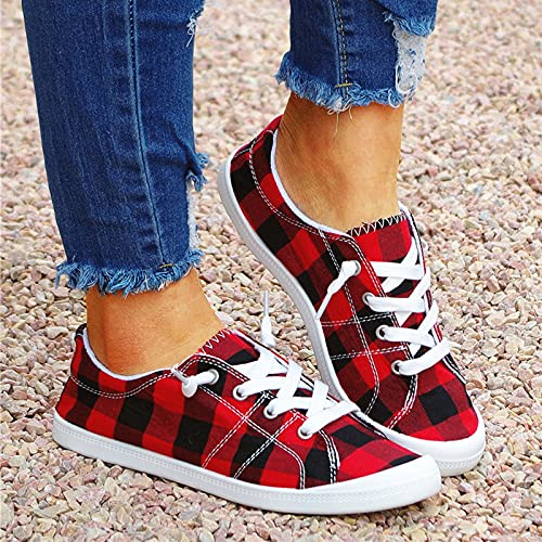 Women s Canvas Shoes Slip on Summer Casual Plaid Lace Up Flat Shoes Sneakers Low Top Summber Fashion Sport Walking Running Tennis Sneakers Girls (9 US  Red)