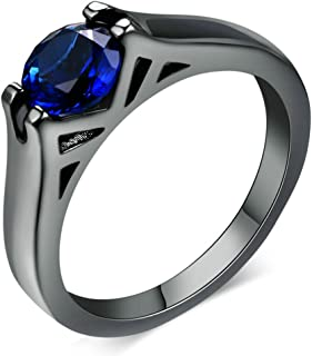 LILILEO Jewelry Fine Ring Plating Black Gold Round Blue Crystal Ring For Women's Rings