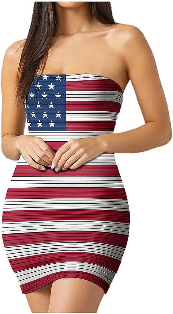 mozhiben Flag Women's Tube Top Dress Strapless Mini Length Casual Dress Sexy Cute