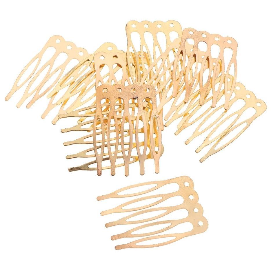 稚魚防腐剤折LUOSAI 女性用ゴールドシルバーブロンズプレーンメタル5本10本入り10本入りヘアコームクラフトクリエイティブコスチュームサプライDIY - ゴールド、2.7cm 10個