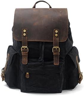 "Mochila de cuero vintage para mochila para hombres, mochila escolar, mochila de viaje impermeable, 15.6"""