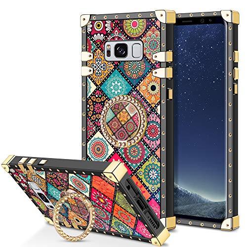 Coolden für Samsung Galaxy S8 Plus Hülle Glitzer Ring Ständer Handyhülle Square Case für Mädchen Retro Flower Verstärkte Ecken Outdoor Stoßfest Schützhülle für Samsung S8 Plus Vintage Rot
