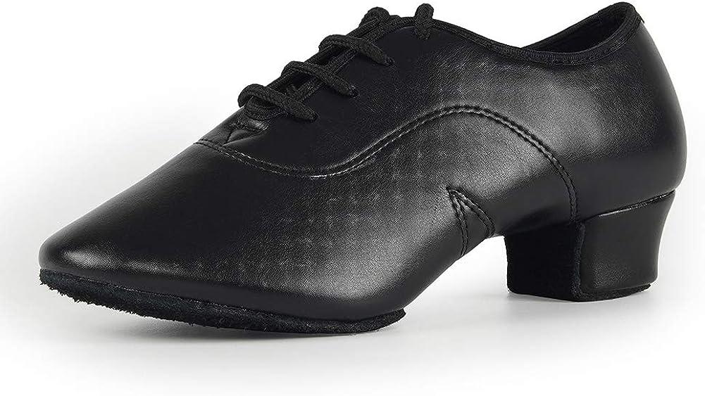 JUODVMP Zapatos Baile Latino Hombre de los de Cuero Lace up estándar Tango latín Jazz Moderno Performance Danza Zapatos,Modelo WLL518-2