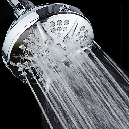 """NOTILUS Giant High-Pressure 6-setting 4.3"""" Face Modern Luxury Spa Shower Head - Solid Brass Metal Connection Nut, Angle-Adjustable Ball Joint, Anti-Clog Jets, All-Chrome Finish"""