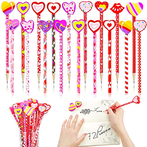 72 Piece Valentine's Day Pencils Assortment and Heart Eraser Topper kit, 36 Kids Wood Pencil Valentines Assorted Patterns with 36 Colorful Giant Eraser for Teacher Student Exchange Prizes Party Favors