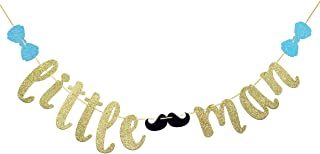 JustParty Little Man Banner with Mustache and Bow Tie, Boy Baby Shower Banner. Boy 1st Birthday Banner(Gold Glitter)