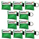 """10x PULOX ®""""RESPI-Key"""" Schlüsselanhänger Beatmungsmaske in grün"""