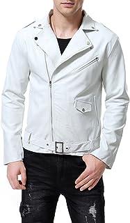 Men's Faux Leather Jacket Stylish Lapel Punk Motorcycle White Coat